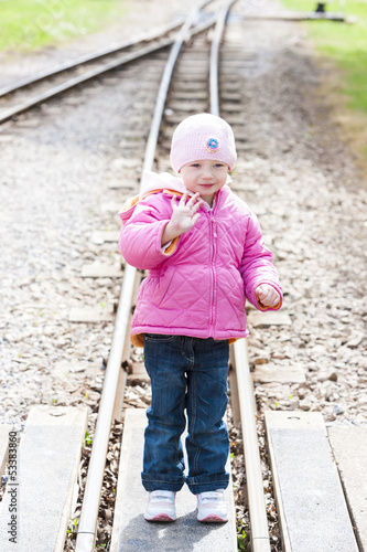 little girl at Ravenglass and Eskdale narrow gauge railway, Cumb