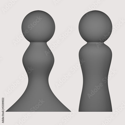 Gray figures of man and woman