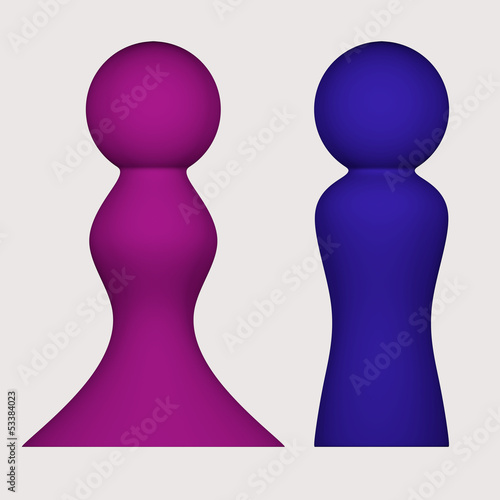 Colored figures of man and woman