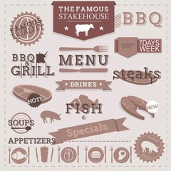 Vintage BBQ Grill Steakhouse design elements and labels.