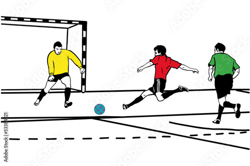 sketch athlete football goalkeeper protects the gate