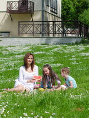 Mother and children having fun on picnic in the park