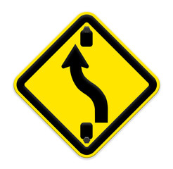 traffic sign Zigzag isolate on white background,part of a series