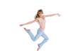 Graceful woman jumping