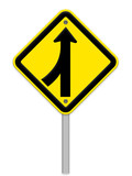 Road Merge Sign on white,part of a series. poster