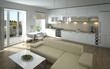Modern open kitchen and living room