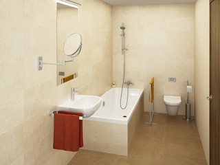 Modern light colored bathroom