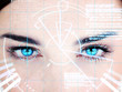 Blue eyed woman with interface