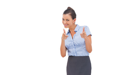 Smiling businesswoman showing something