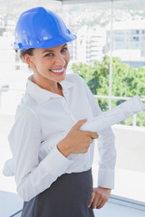 Smiling architect holding plans and wearing hardhat