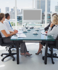 Business people gathered for a video conference