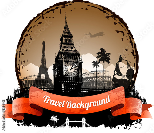Travel background with famous landmarks elements eps 10