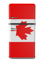 Retro refrigerator with the Canada flag on the door
