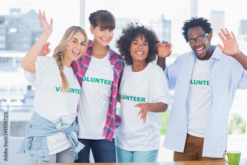 Group of volunteers standing together