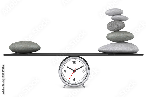 Zen Stones balanced on a clock