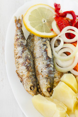 sardine with potato, onion and carrot
