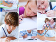 Collage of pupils studying