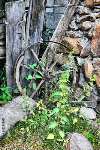 wooden broken wheel