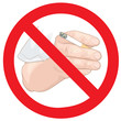 Stop smoking sign. Hand with a cigarette.