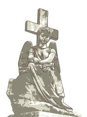 Sad angel and cross.