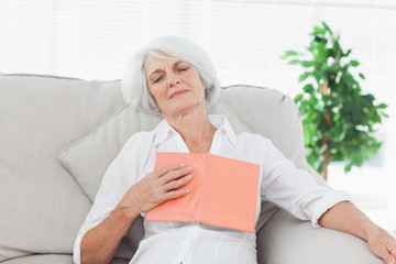Woman sleeping whereas she was reading