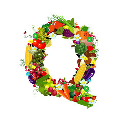 Fresh vegetables and fruits letter Q