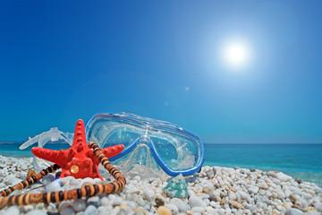 mask, starfish and sun