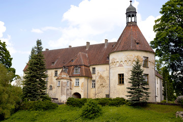 Ancient medieval castle of the XIV century Jaunpils, Latvia