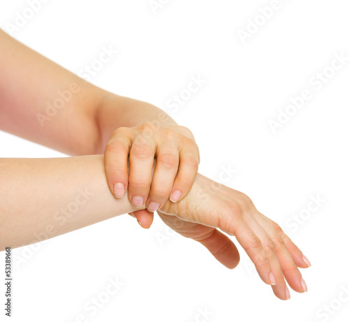 Closeup on hand holding wrist