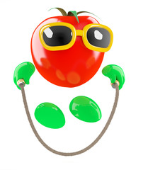 Tomato is skipping to get fit