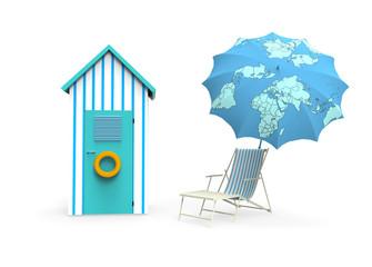 Cabina de playa con sombrila