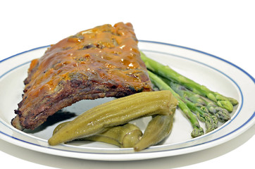 Plate of Barbecued Ribs and Vegetables