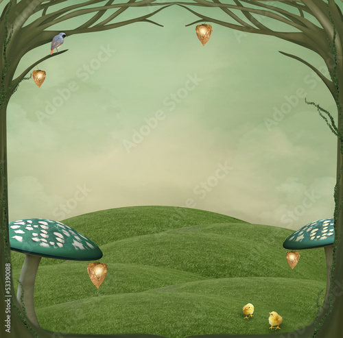 Green country background