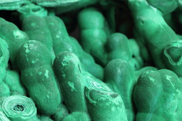 Dripstone malachite crystals