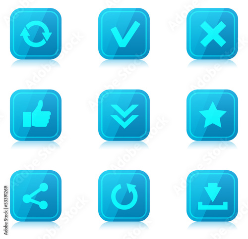 Set of blue internet icons with reflection