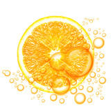Orange fruit with water drops isolated on white background.