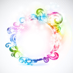 Round frame decorated with fanciful swirls.