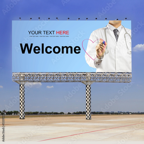 Doctor writing welcome