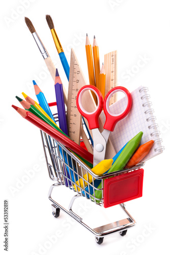 School or office supplies, drawing tools in a shopping cart