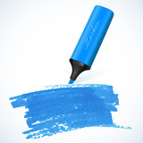Blue vector marker with drawn spot