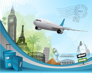 Travel background design with famous landmarks elements eps 10