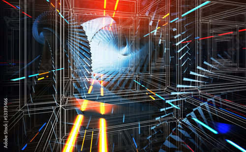 3d abstract background illustration with lights perspective