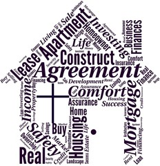 Word cloud in a shape of house with business terms