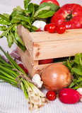 vegetables in the wood box