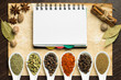 Notebook on old sheet of paper with various kinds of spices
