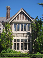 stone house with tudor trim