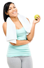 latin american woman holding green apple