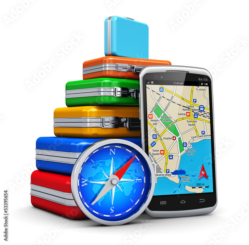 Travel, tourism and GPS navigation concept