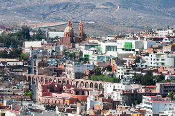 View of Zacatecas with aqueduct and Guadalupito church (Mexico)