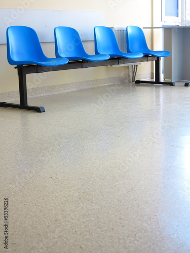 Blue stools in the waiting room